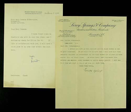 404: Elliott Springs, two letters signed by hand Date: