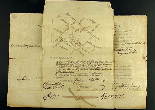 405: Benjamin Guerard, South Carolina land grant Date: