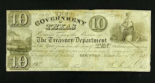 407: Government of Texas ten dollar note, signed by Sam