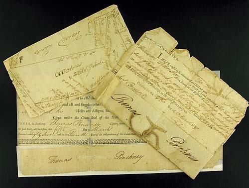 408: Thomas Pinckney, fragments of three South Carolina