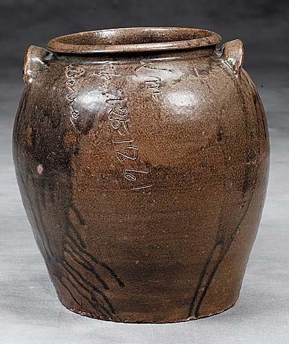 412: Edgefield Dist. stoneware storage jar, signed Dave