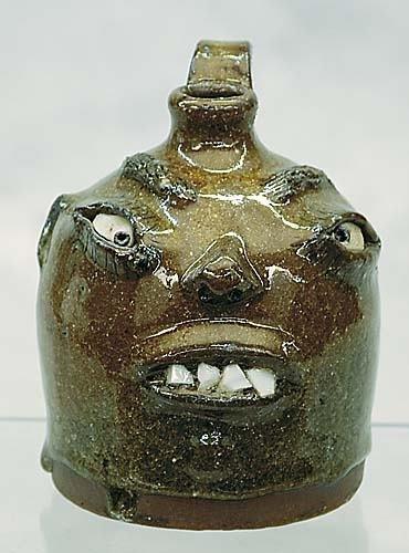 413: Southern folk art pottery face jug, Billy Henson D