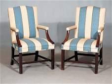 571: Pair Georgian style mahogany open armchairs Date: