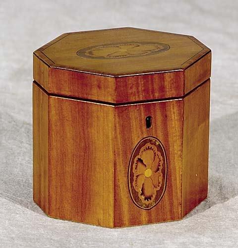 14: Georgian style inlaid satinwood tea caddy