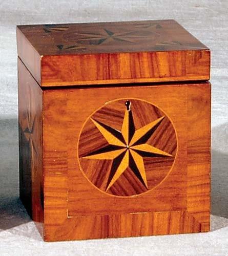 16: English inlaid mixed wood tea caddy