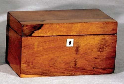 18: English olivewood double tea caddy