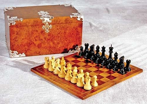 22: English burl walnut game box with silverplate mount