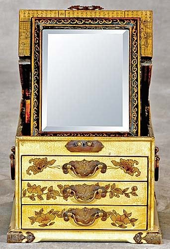 26: Chinese yellow-and-gilt lacquered dresser box