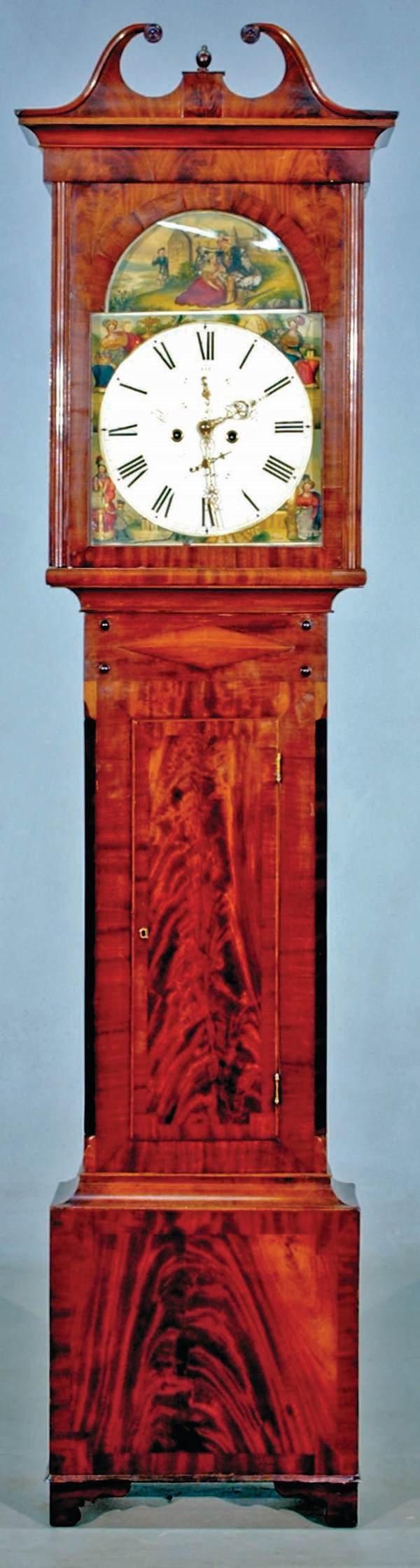 27: English Sheraton mahogany tall case clock