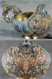 110: Russian enameled silver kovsch by Fedor Ruckert