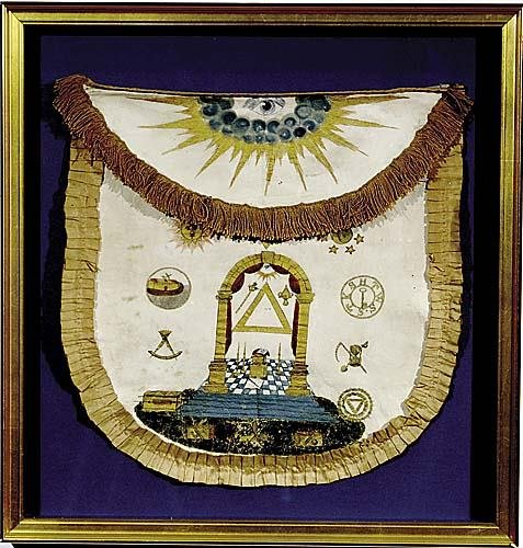 503: Masonic painted lambskin and silk apron