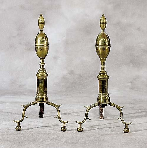 514: Pair Federal brass andirons