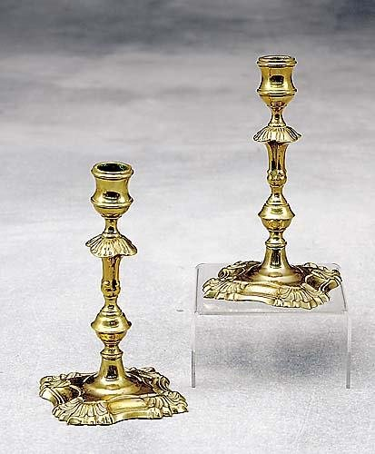 515: Pair George III brass tapersticks