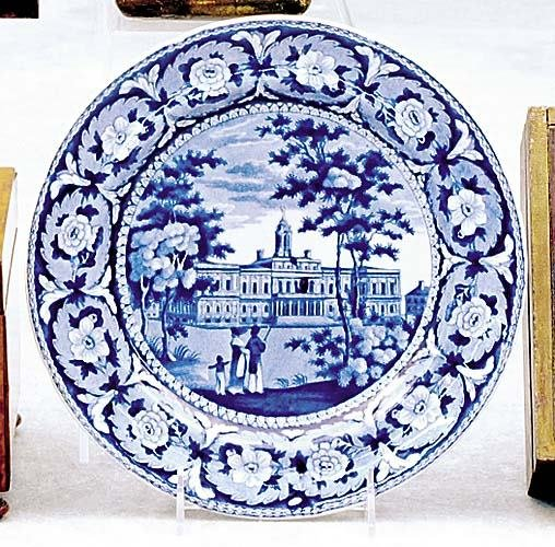 522: Historical blue-and-white plate, J&W Ridgway