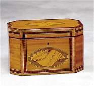 542: Georgian style inlaid satinwood tea caddy Descript