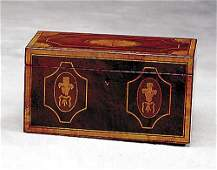 544: Georgian style inlaid mahogany tea caddy Descripti