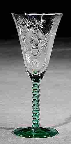 003: Etched glass cordials, set of seven early 20th cen