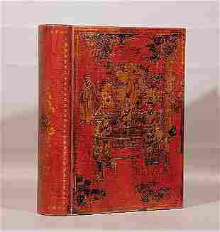 015: Chinese red-and-gold lacquered storage box resembl
