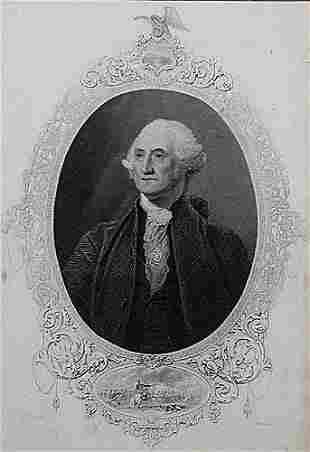 018: American (19th century) OVAL PORTRAIT OF GEORGE WA