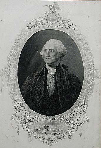 018: American (19th century) OVAL PORTRAIT OF GEORGE WA