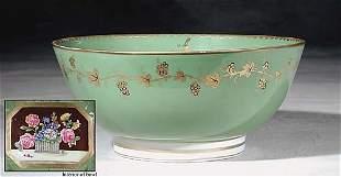 022: Paris porcelain punch bowl 19th century upswept ri