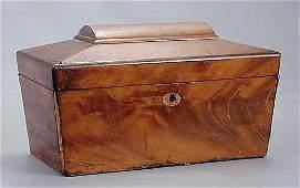 153: Regency mahogany tea caddy circa 1825 coffin-shape