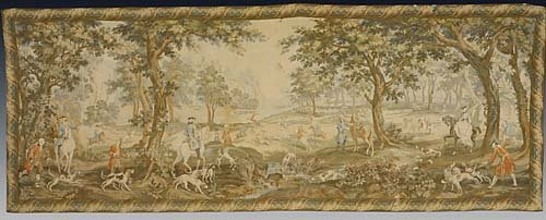 454: Unusual Continental hunting tapestry late 19th/ear