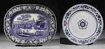 528 Two English ceramic platters 19th century one Wedg