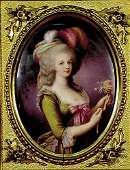 181: KPM porcelain plaque of Marie Antoinette  19th cen
