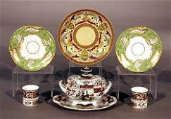 366: English porcelain and ironstone dishes 19th centur
