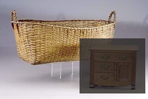 401: Large split oak basket late 19th/early 20th centur