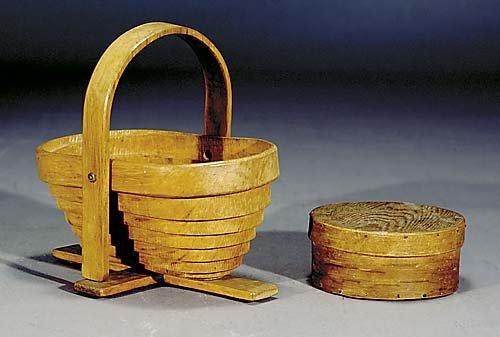 403: Folk art box and basket circa 1900 bentwood covere