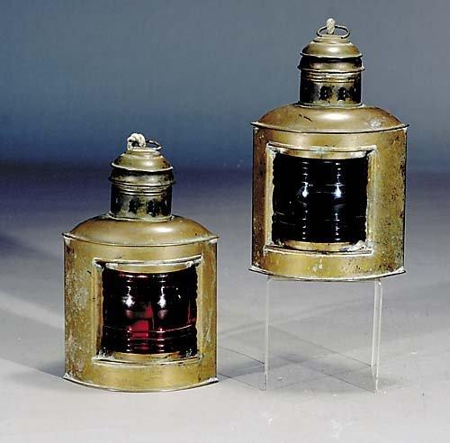 405: Pair American brass marine lanterns, by Perko 19th