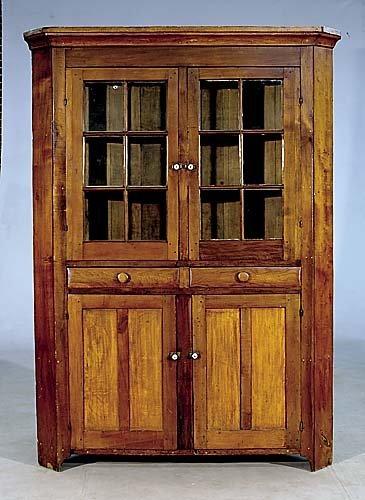 421: American cherry, walnut and pine corner cupboard,