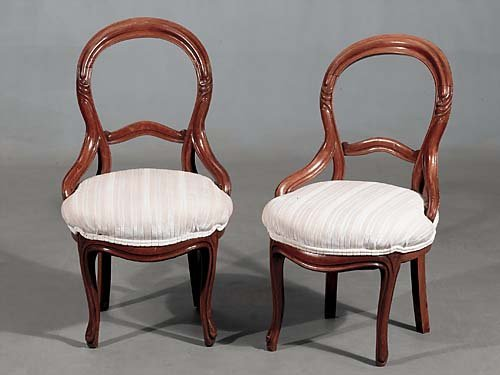 423: Pair Victorian carved walnut side chairs circa 189