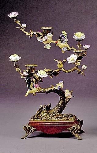 635: Pair porcelain and gilt-metal candelabra three bob