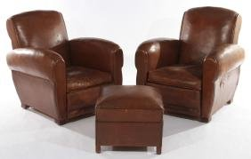FRENCH ART LEATHER CLUB CHAIRS 1940