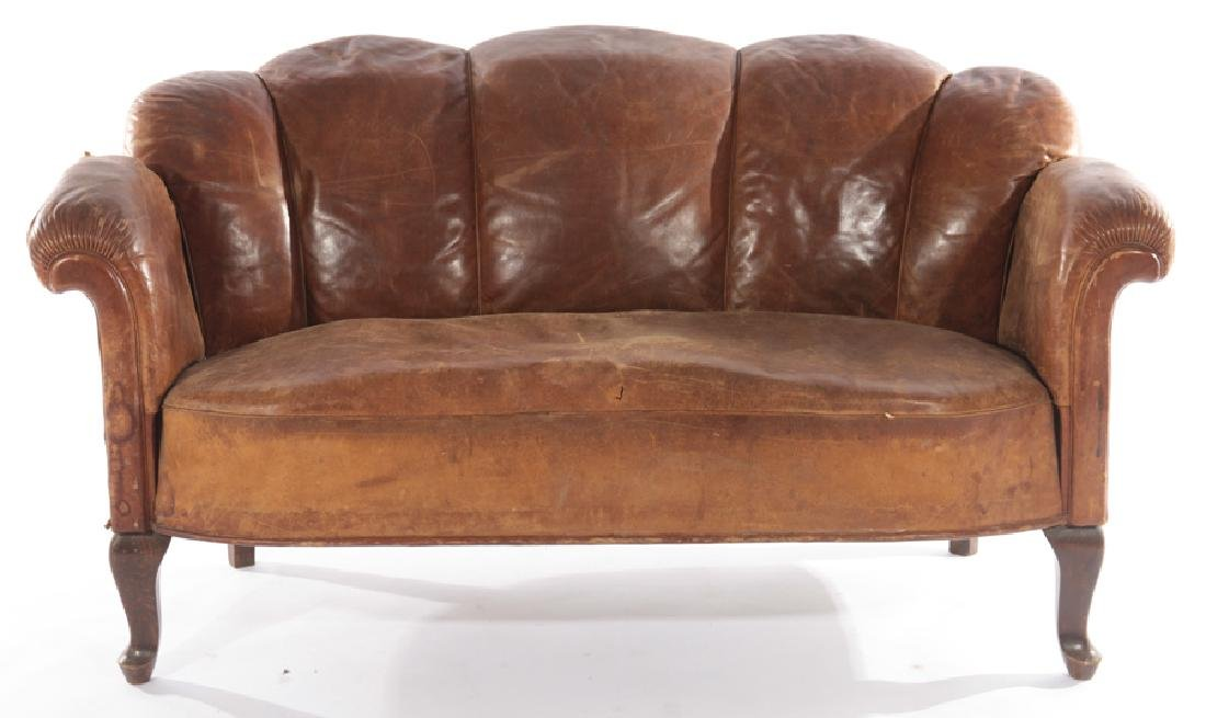 ENGLISH LEATHER CHANNEL BACK SOFA 1940
