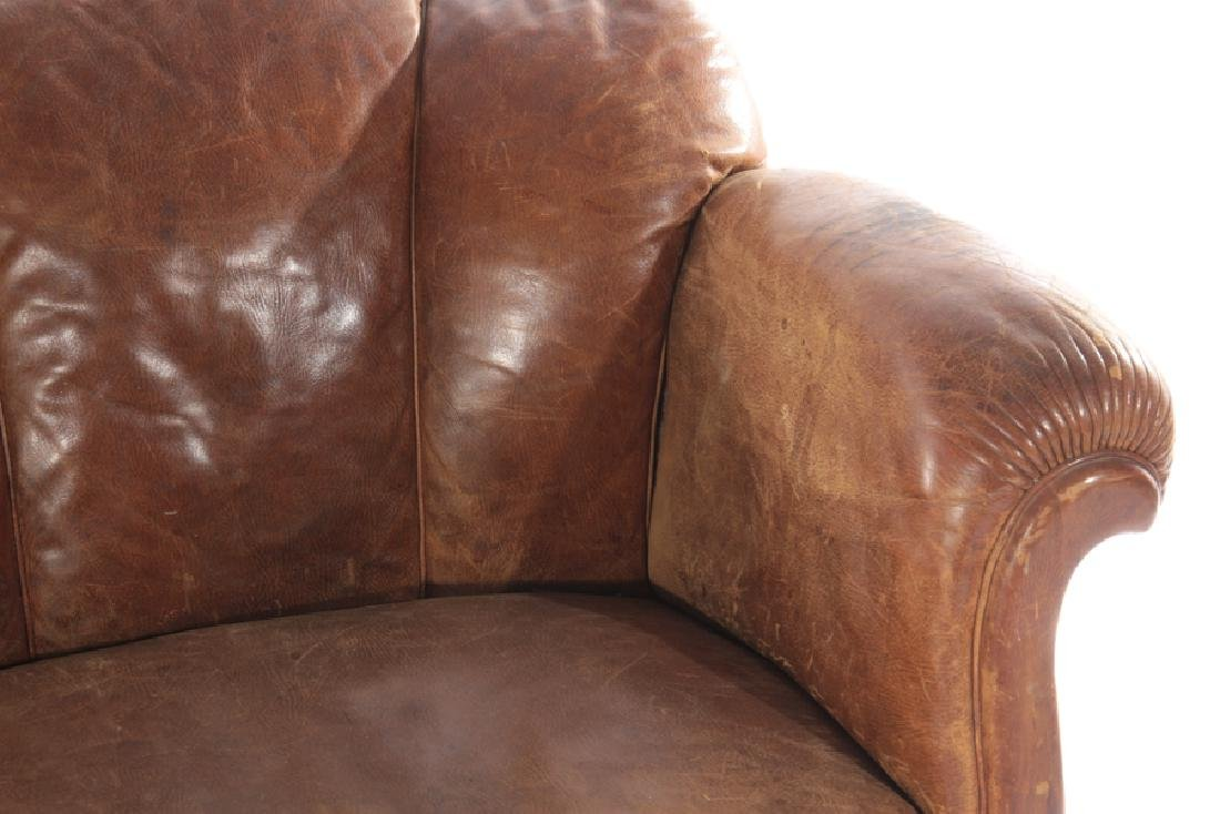 ENGLISH LEATHER CHANNEL BACK SOFA 1940 - 3