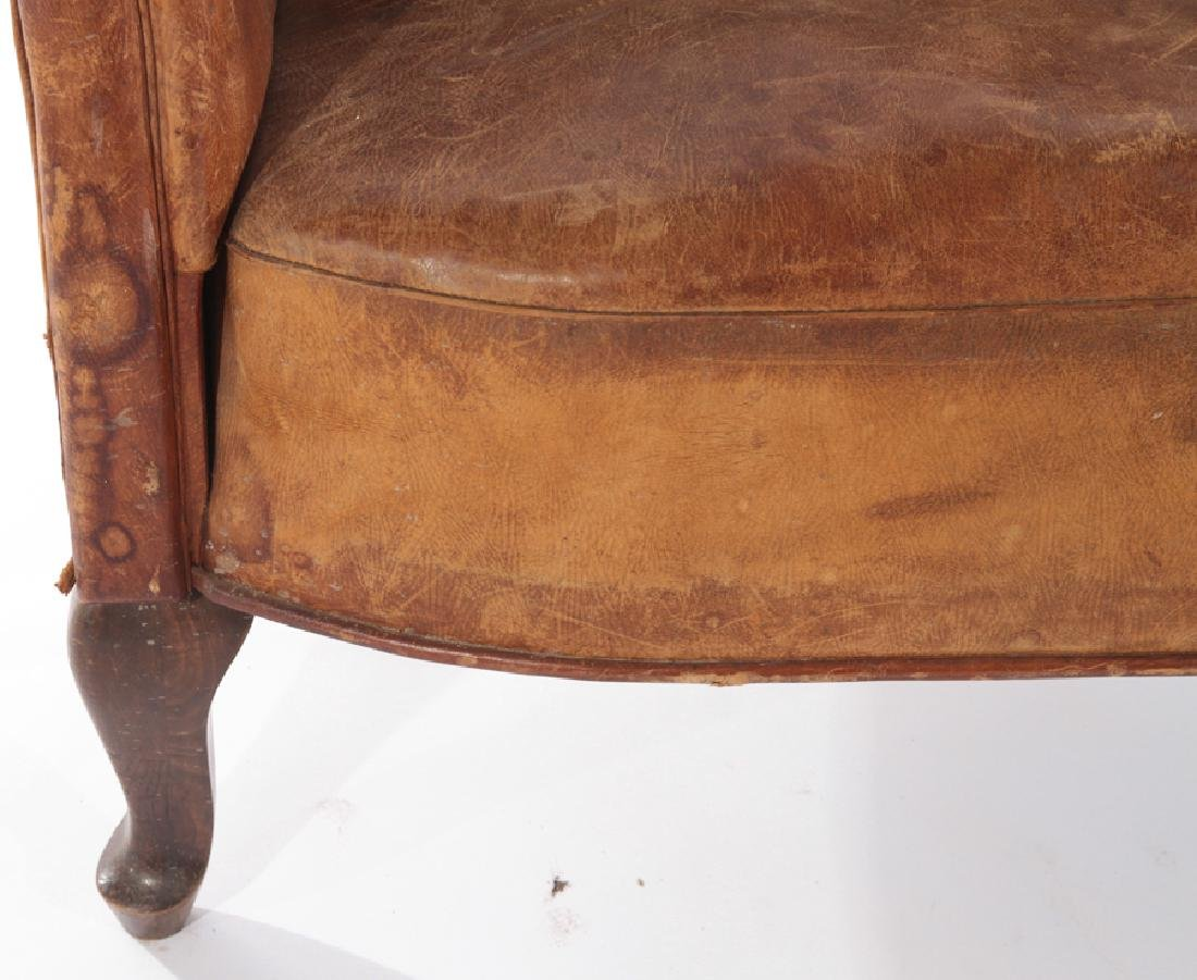 ENGLISH LEATHER CHANNEL BACK SOFA 1940 - 4