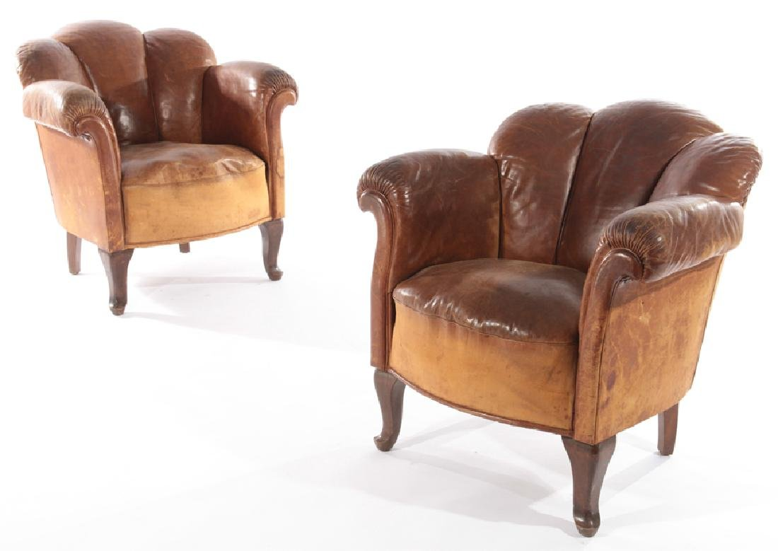 PR ENGLISH CHANNEL BACK LEATHER CLUB CHAIRS 1940