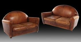 PAIR OF FRENCH ART DECO STYLE LEATHER COUCHES