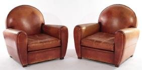 PAIR FRENCH ART DECO LEATHER CLUB CHAIRS