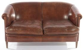 ENGLISH ART DECO STYLE LEATHER COUCH 1940