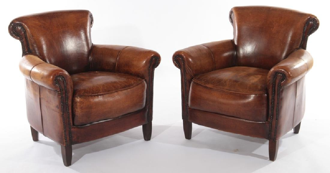 PAIR ENGLISH LEATHER CLUB CHAIRS
