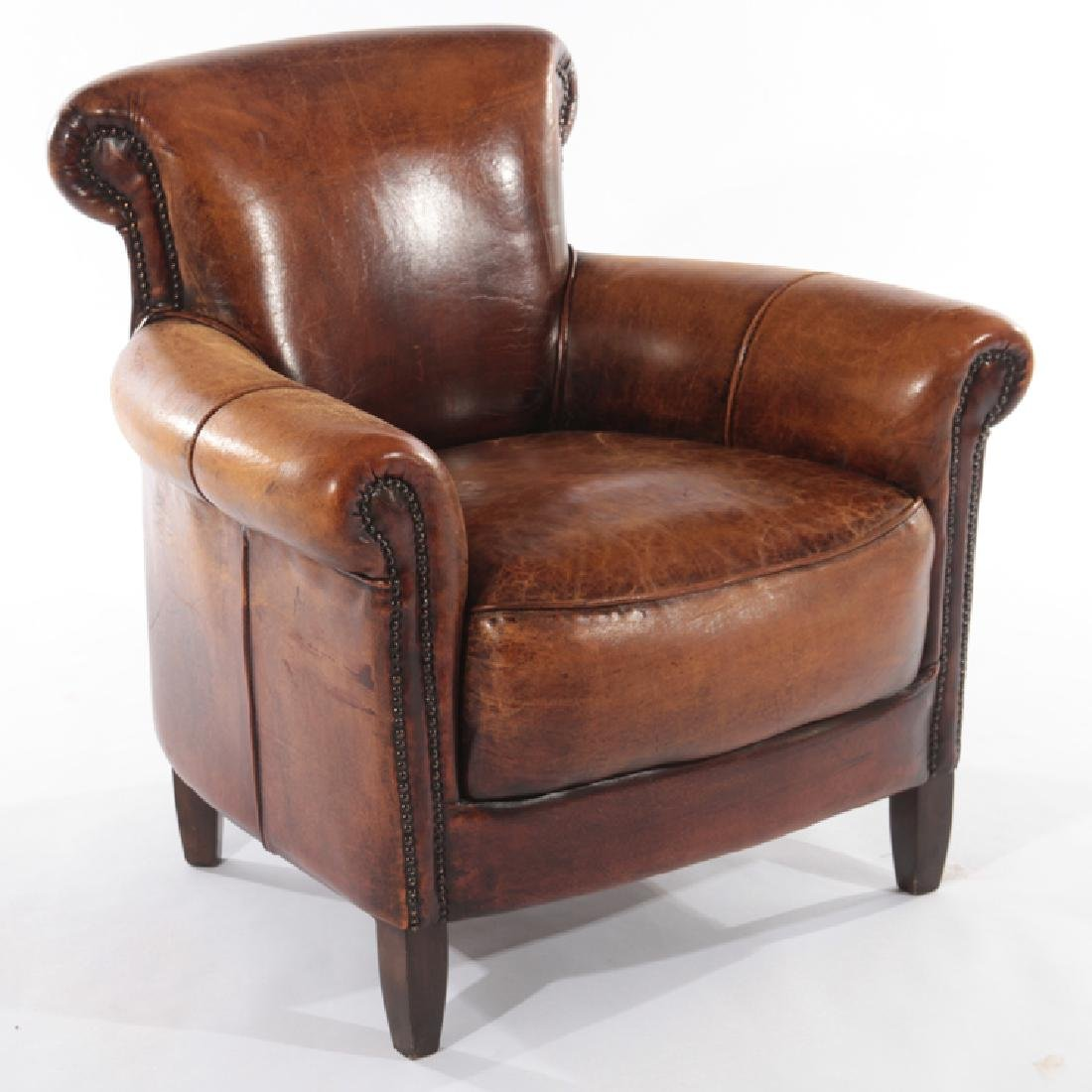 PAIR ENGLISH LEATHER CLUB CHAIRS - 2