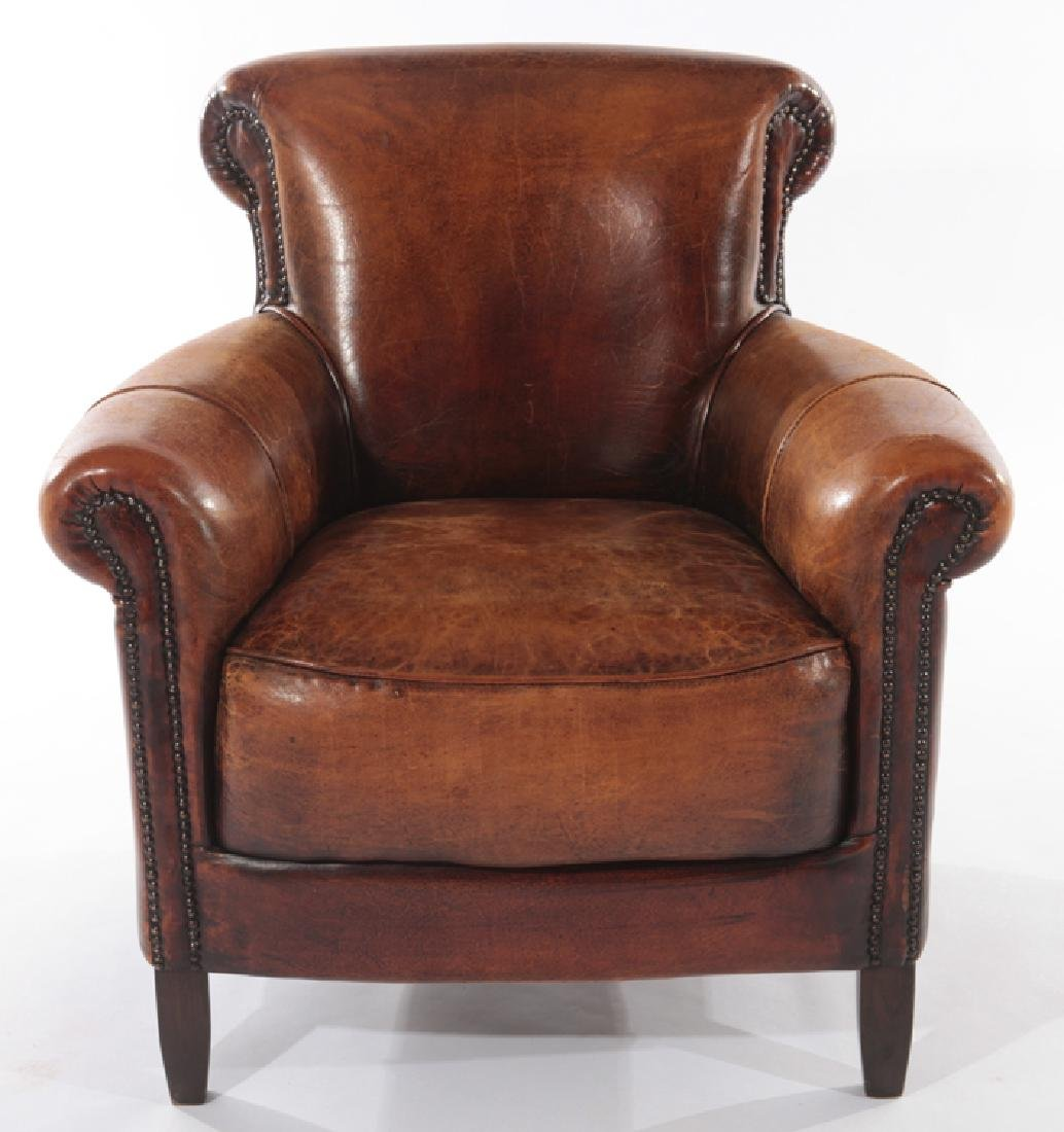PAIR ENGLISH LEATHER CLUB CHAIRS - 3