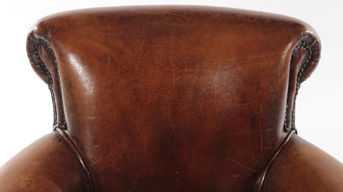 PAIR ENGLISH LEATHER CLUB CHAIRS - 4