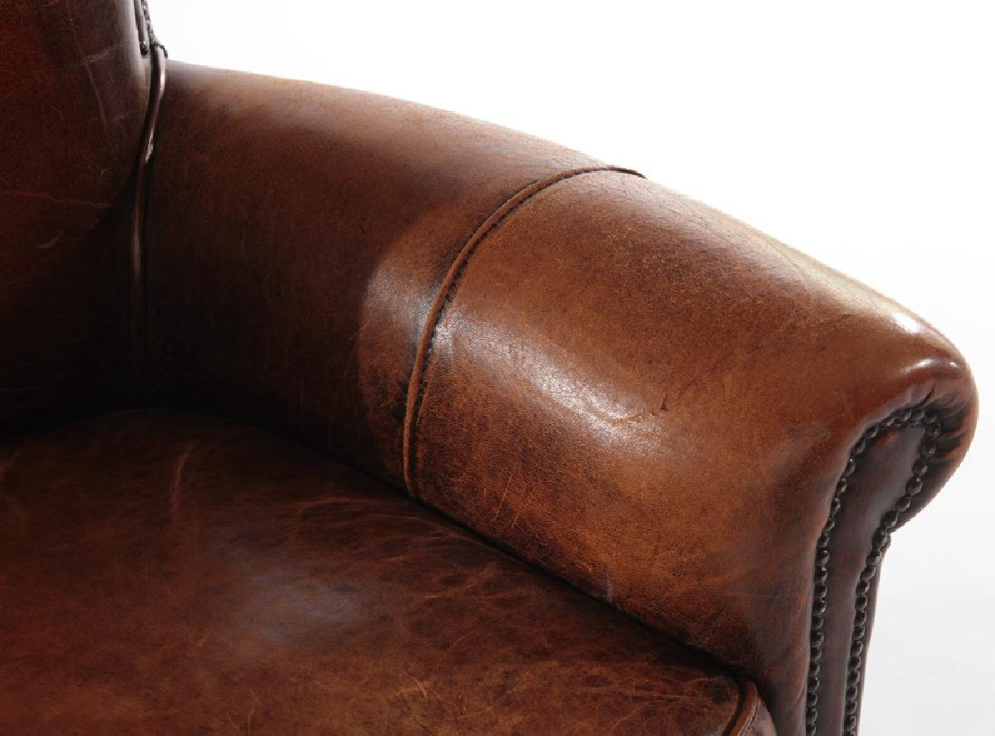 PAIR ENGLISH LEATHER CLUB CHAIRS - 5