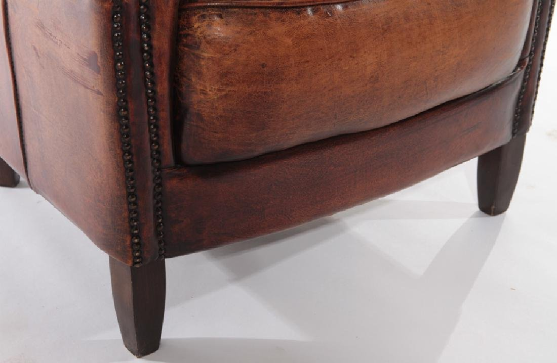 PAIR ENGLISH LEATHER CLUB CHAIRS - 6